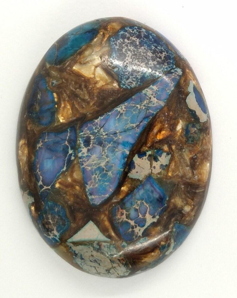 read description S4000 1pc 40x30mm Deep Blue Copper Matrix Collage Stone Cabochon Flat back oval cab  Cabachon choose your Stone
