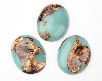cabachon stone 1pc 40x30mm cabochon gemstone Turquoise Flat Back man made copper matrix diy statement necklace bracelet brooch pendant 917x