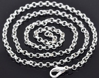 1pc. Silver 20 inch Rolo Chain Necklace 3mm with Lobster Clasp   jewelry findings steampunk chain from cameo jewelry supply 624x