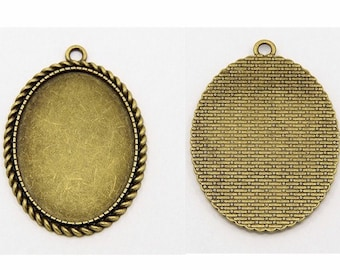 oval cabochon setting Antiqued Bronze 40x30mm Cameo Pendant Setting with Ring Item 815x