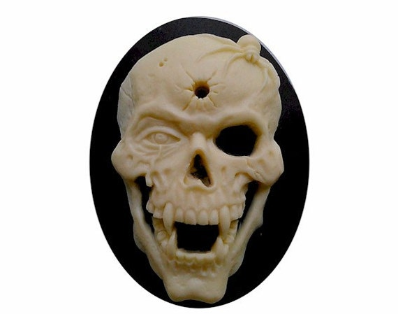 20 BLACK SKELETON CAMEO CABOCHONS-GOTHIC-RESIN-SKULL//HEAD HALLOWEEN JEWELLERY