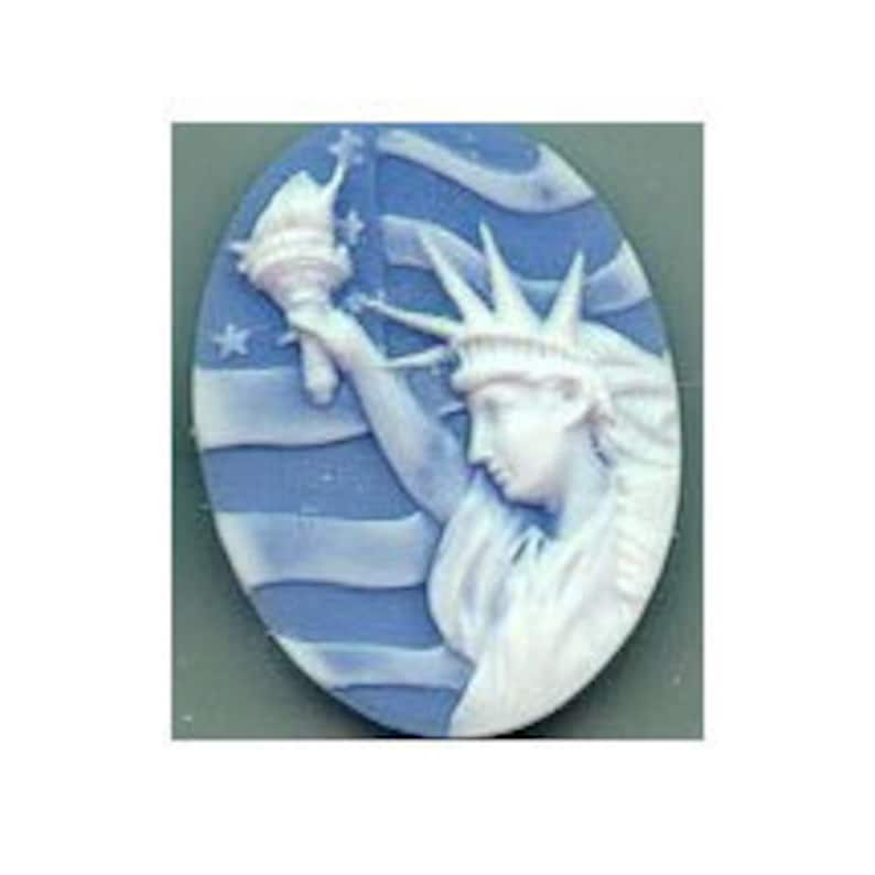 40x30mm Statue of Liberty Cameo Patriotic Cameo Dark Blue Resin Cameo 979x