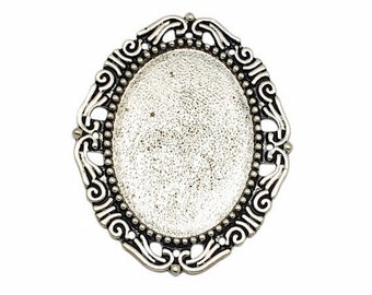 40x30mm antiqued silver Cameo Setting 50 different setting designs frame brooch or pendant mount gluable setting  jewelry findings 367x