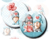 2.5 inch Valentines Gnomes Digital Collage Sheet. Scandinavian Nordic Scandi in love Dwarfs cabochon for 2.25 pocket mirrors tag pins badges