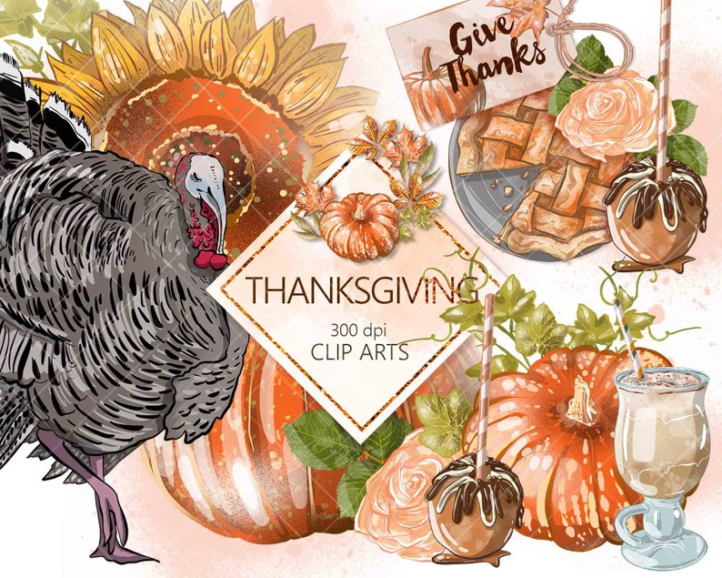 Planner images for stickers etc Printable png instant download Watercolor style Digital clip arts Thanksgiving Fall Autumn clipart set