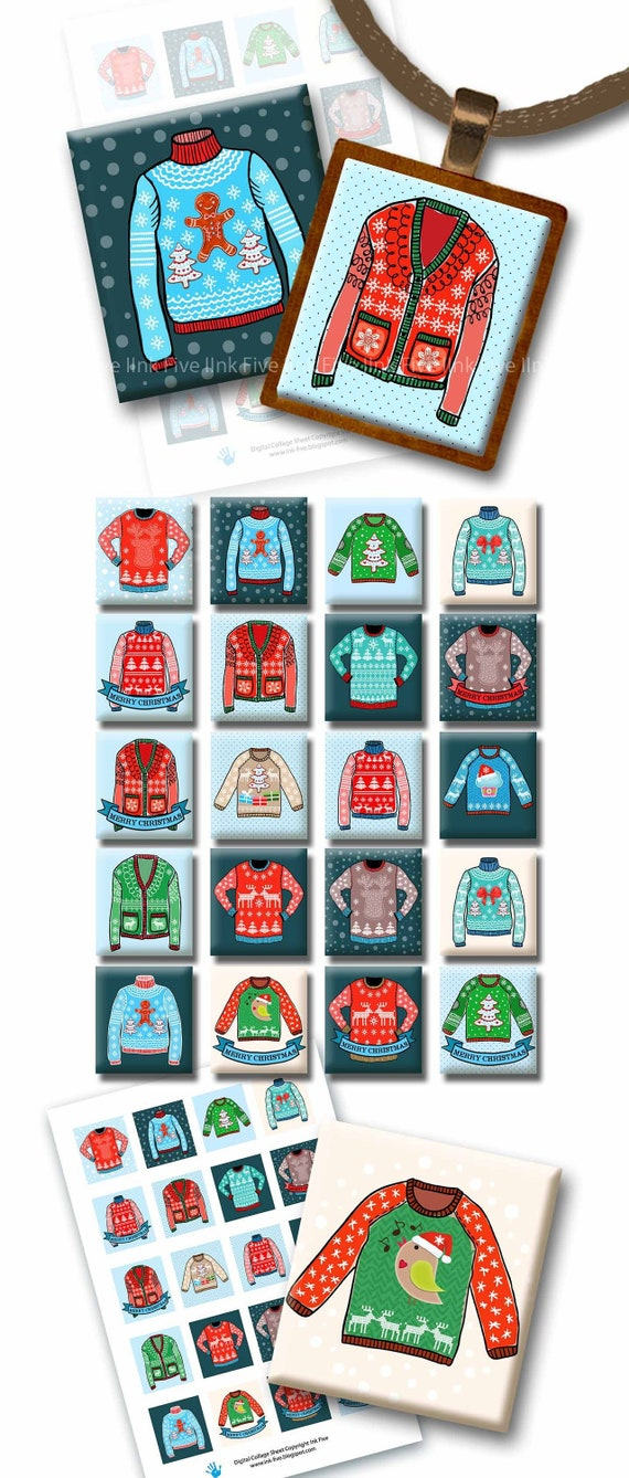 Christmas Ugly Sweaters digital images for scrabble tiles | Etsy