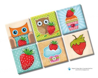 Strawberry Field Forever 1 inch squares printable digital download. Colorful images of strawberries, owls, cupcakes. Digital collage sheet
