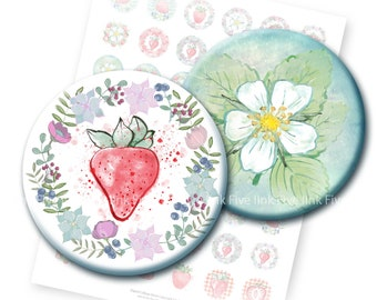 Strawberry Field Forever 1 inch bottlecaps circle Digital Collage Sheet for tags, planners, magnets, cards, bottle caps, scrapbooking.