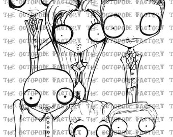 INSTANT DOWNLOAD The Addams Family Set of  7 Digital Stamp Images