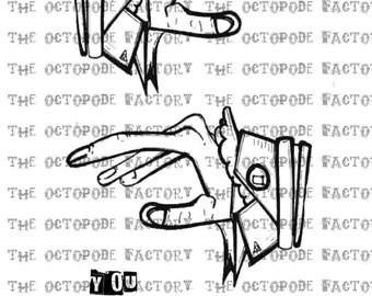 INSTANT DOWNLOAD Dada Steampunk Hands Digital Stamp Image