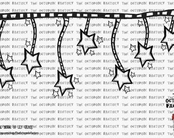 INSTANT DOWNLOAD Stars Border Digital Stamp Image