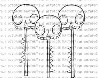 INSTANT DOWNLOAD Skull Head Sticks