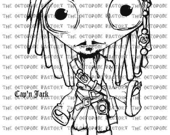 INSTANT DOWNLOAD Pirate Captain Jack Digital Stamp Image