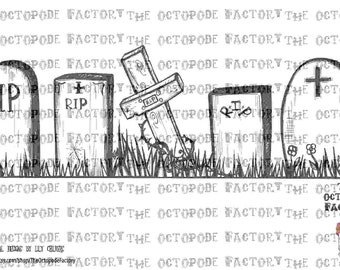 INSTANT DOWNLOAD Hallowe'en Tombstones digital stamp image
