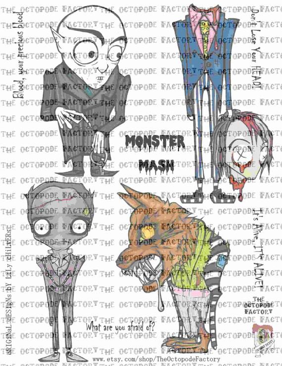 Instant Download Monster Mash Digital Collage Sheet Etsy
