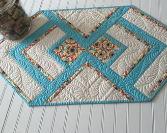Quilted Spring Table Runner in Aqua, Yellow and Orange Sew You Like It Heavily Quilted