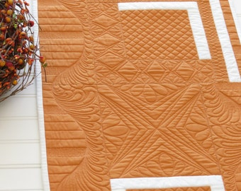 Fall Autumn Quilted Table Runner Pumpkin Spice Heavily Quilted One of a Kind