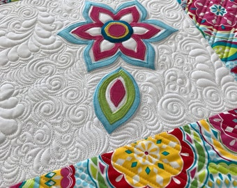 Quilted Spring Table Runner with Appliqued Flowers Heavily Quilted
