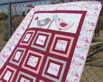 Appliqued Bird Quilt for Child Toddler Baby Lap Throw Blanket in Fuchsia, Pink and Gray with Chenille and Corduroy