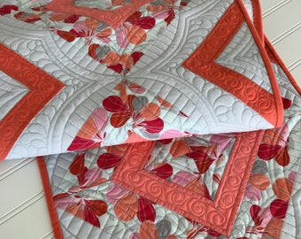 Spring Quilted Table Runner Coral Grey Orange