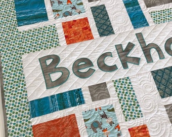 Personalized Baby Quilt Custom Quilt with Baby Name