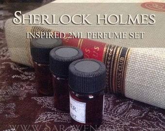 SHERLOCK HOLMES inspired Perfume Set / 2ml Perfume oils / Sherlock Perfume Cologne / Vegan Handcrafted perfume oil