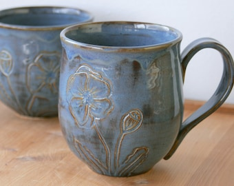RESERVED for SARITA LI Latte Mug in Beach Blue, Large 18 oz., Tea or Coffee Cup, Icelandic Poppies, Seaside, Flowers, Giselle No. 5 Ceramics