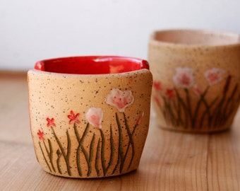 Ceramic Sponge Holder, Stoneware, California Wildflowers Collection, Red Kitchen Decor, Hand Carved Pottery, Pastel Flowers, Giselle No. 5