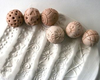 Clay Texture Stamps, TWO Ball Stamp Rollers, Ceramics and Pottery, Random Gift Set, Giselle No. 5 Original