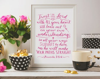 Bible Verse Wall Art ~ Trust in the Lord ~ Proverbs 3:5-6 ~ Hand-Lettered Design
