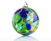 Handblown Glass Round Ornament Blue Green Yellow Round