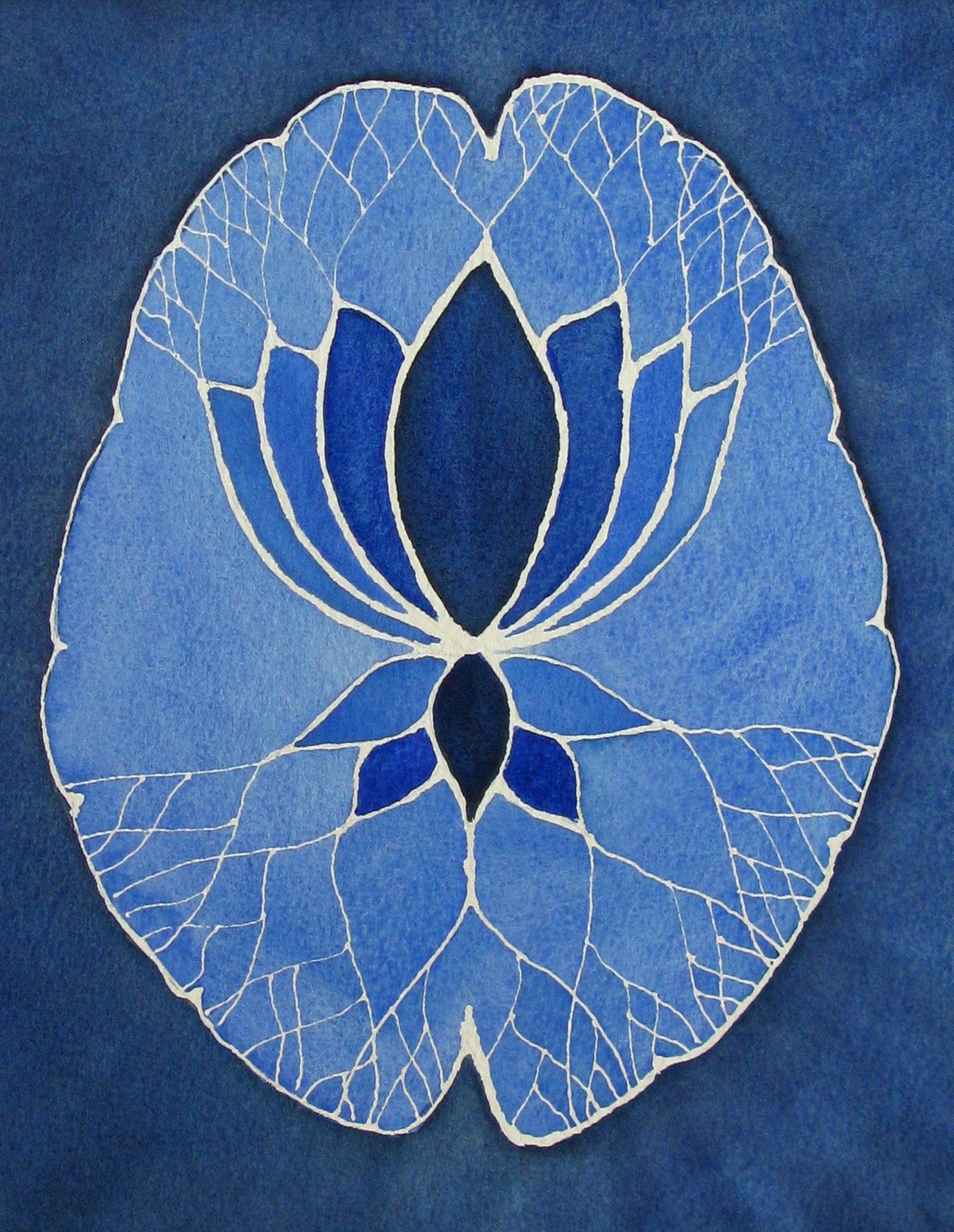 Blue Lotus Brain Original Watercolor Painting Etsy