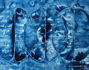 Fragile Memory: Original ink painting on yupo of brain - neuroscience art literature Isabel Allende