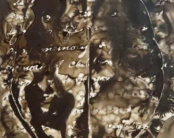 One Good Memory: Original ink painting on yupo of brain - neuroscience art literature Dostoevsky
