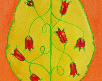Tulipmania Brain -  original watercolor painting of brain