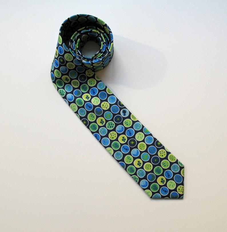 Blue Petri Dishes Silk Tie  Science Necktie  Microbiology image 0