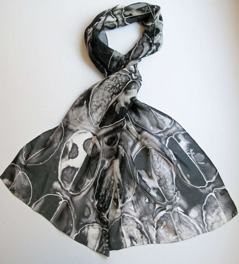 Black Brain Scan   Silk Chiffon Scarf  neuroscience scarf image 0