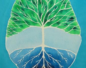 Root and Branch Brain -  original watercolor painting - neuroscience art