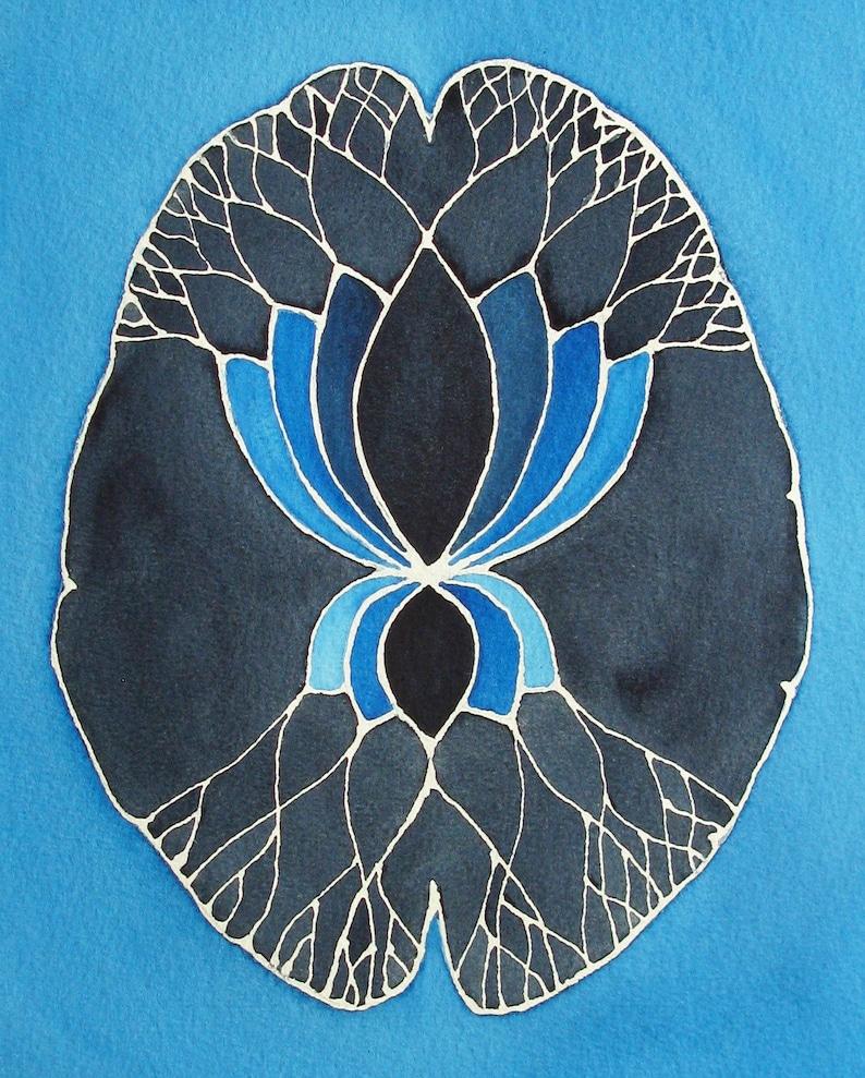 Dark Blue Lotus Brain    original watercolor painting  image 0
