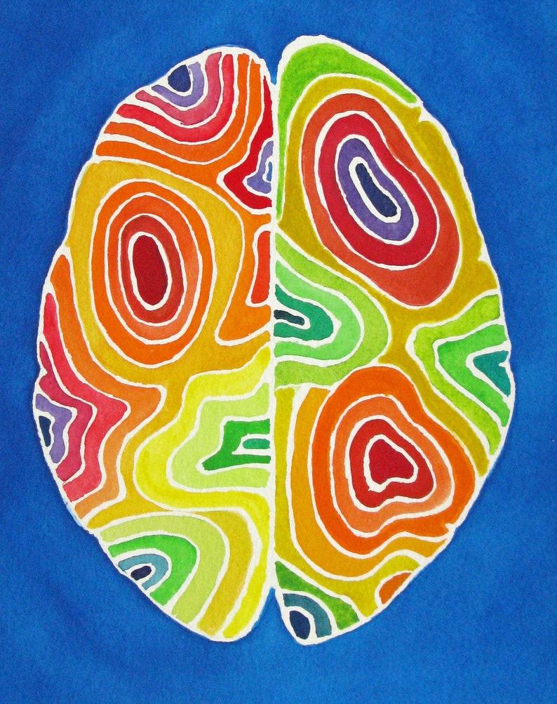 Zones of Brightness Brain   original watercolor painting  image 0