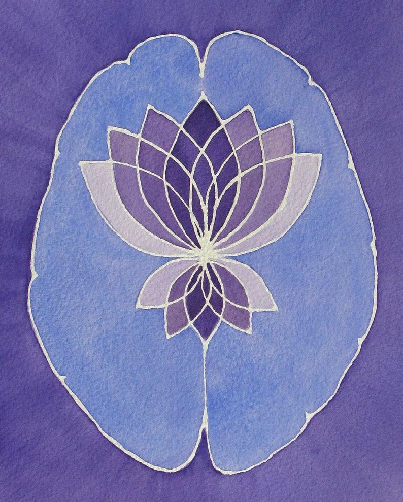Lavender Lotus Brain    original watercolor painting  image 0