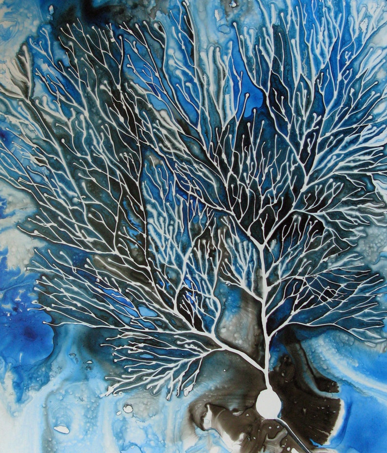 Purkinje Cell   original ink painting on yupo  Neuroscience image 0
