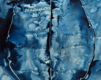An Oft-Told Story: Original ink painting on yupo of brain - neuroscience art literature Karen Joy Fowler