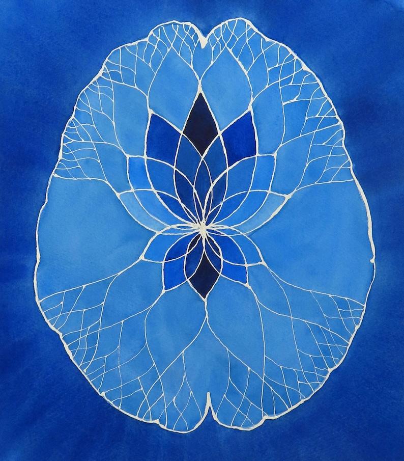 Big Blue Lotus Brain    original watercolor painting  image 0