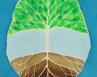 Deep Root and Branch Brain -  original watercolor painting - neuroscience art