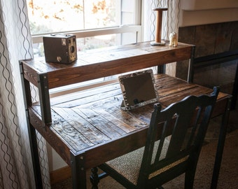 Repurposed Pallet Wood Desk Tiered With Metal Legs