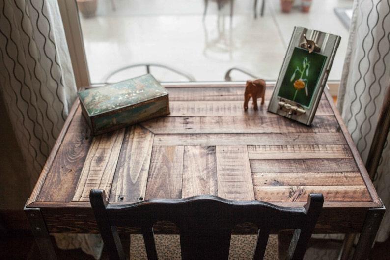 Recup palette bois bureau avec tiroir et pieds en métal etsy