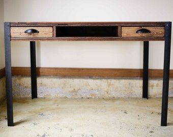 Pallet Wood Desk with Two Drawers and Center Shelf