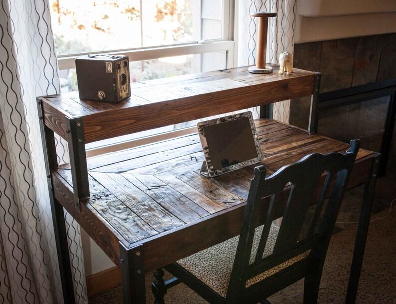Bureau bois recup palette niveaux avec pieds en métal etsy