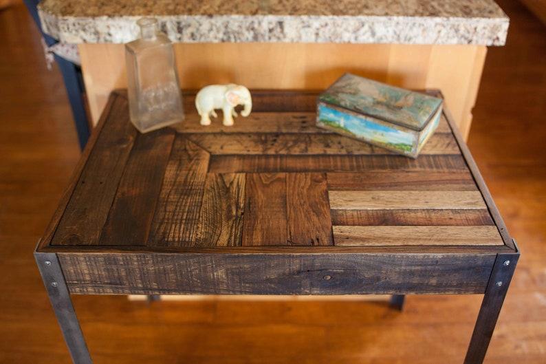 Bureau bois recup palette avec pieds en métal etsy
